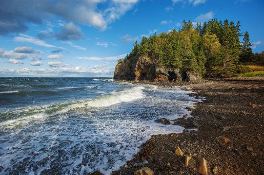 Rocky beach off the coast of Maine, USA