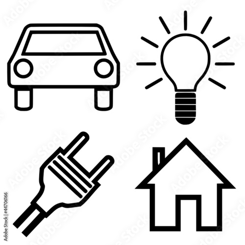 Symbole Haus Auto Lampe Stecker Stock Image And Royalty Free Vector