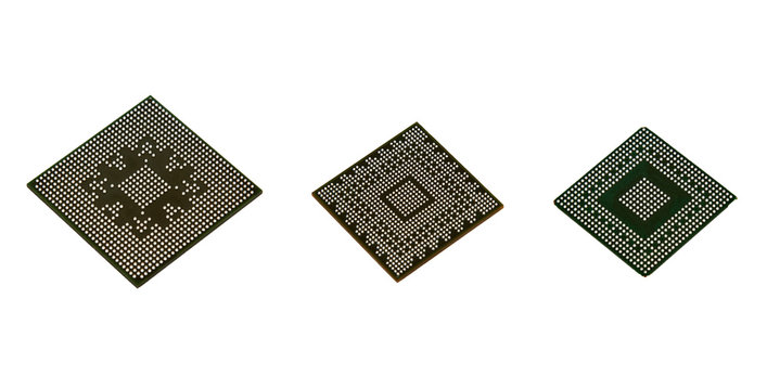 Three Laptop video chips on white background