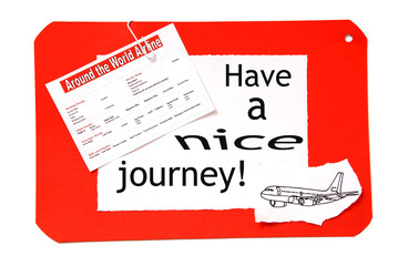 Have a nice journey notice with airfare and aircraft