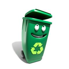 Poubelle recyclage mascotte