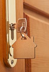 Macro of a key in a lock