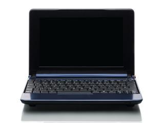blauer computer mit schwarzem bildschirm von vorne