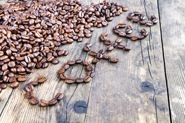 Coffee berries of the coffee spelled words.