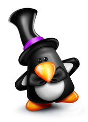 Whimsical Cartoon Penguin in Top Hat