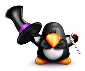 Whimsical Cartoon Penguin Tipping Top Hat