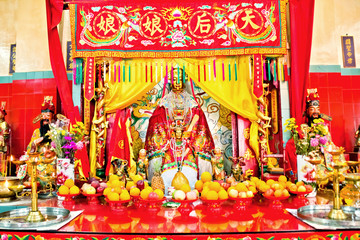 Tin Hau Temple,Sea Goddess Statue and Altar, Stanley, Hong Kong