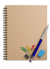 pencil on checked notebook isolated on white