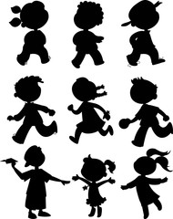 Kids black silhouettes. Boy and girls walking, running