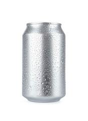 Wet aluminum soda can isolated on white background