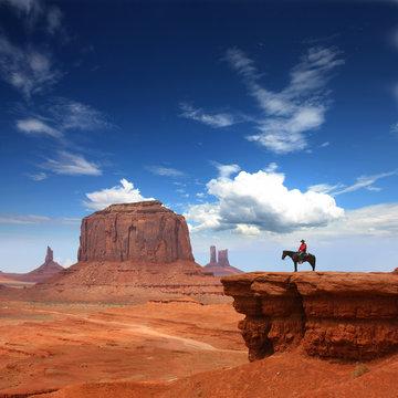 Monument Valley with Horseback rider ( John ford's point ) / Utah - USA