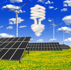 Bulb from clouds above the solar panels with wind turbines