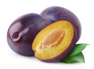 Isolated plums. Cut fresh blue plum fruits isolated on white background