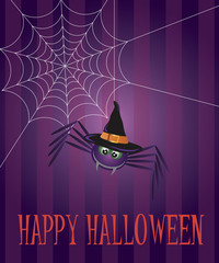 Halloween Spider and Web Illustration