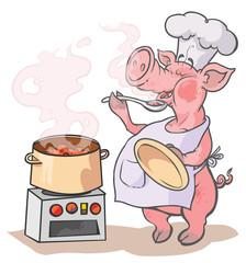 Cartoon Cook Pig.