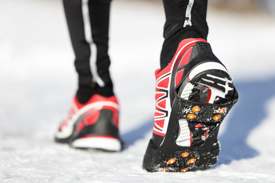 Running shoes in snow