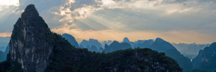 Aerial view mountain range at sunset ray from Moon Hill, China
