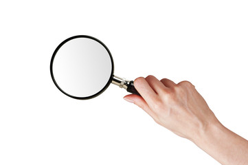 Magnifier glass in woman hand isolated on white