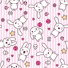 Seamless pattern with doodle. Vector kawaii illustration.