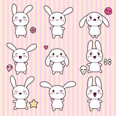 Wall Mural - Collection of funny and cute happy kawaii rabbits.
