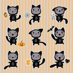 Wall Mural - Kawaii collection of Halloween-related objects and creatures.