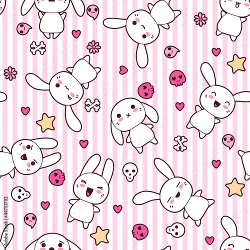 Wall mural Seamless pattern with doodle. Vector kawaii illustration.