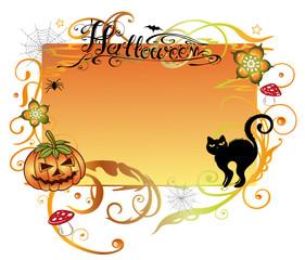 Halloween, Sankt Martin, Rahmen, Kürbis, Pilze, Laub, flora