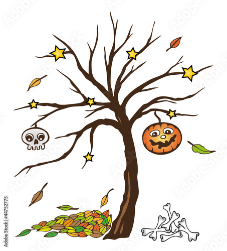 Halloween, Sankt Martin, Kürbis, Blätter, Baum, Herbst\