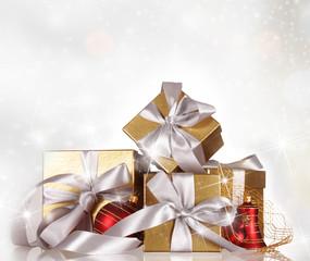Christmas gifts with christmas balls