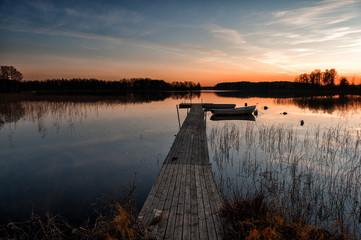 Deurstickers Pier Scandinavian sunset