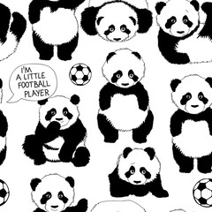 I'm a little football player / Children's pattern with panda