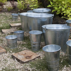 zinc bucket of water standing