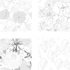 Set of Seamless pattern with beautiful flowers