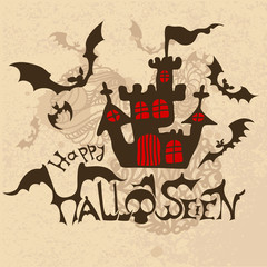 Halloween background with bats and haunted house