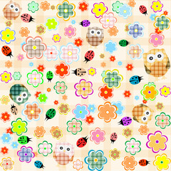 seamless flower and owl background. vector pattern