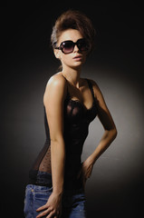 girl with sunglasses wearing black lingerie