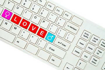 Wording Love on computer keyboard isolated on white background