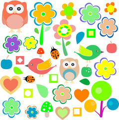 animals and nature design elements. vector retro background