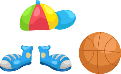 cap - shoes -basketball vector Illustraiton