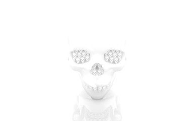 Abstract human skull with small skulls instead of teeth.