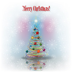 Christmas greeting with tree and snowflakes and text Merry Chris