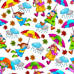 seamless pattern with kids holding umbrellas