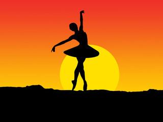 Illustration of a ballerina dancing at sunset