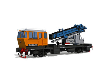 Perspective view of the modern support digger motor-rail car