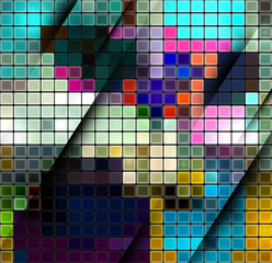 Foto auf AluDibond Pixel Colorful abstract mosaic background