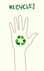 Recycle sign on hand
