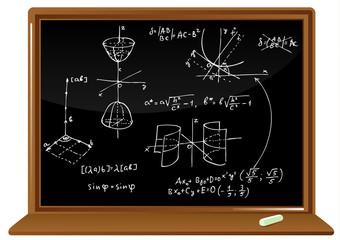 blackboard with geometric formulas