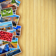 Photos on wooden background