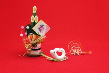 ハートの可愛い白蛇と門松飾り