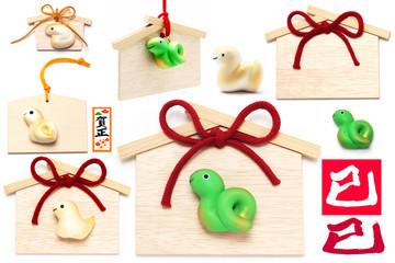 巳年 広告写真 イラストパーツ素材 オリジナル蛇と絵馬